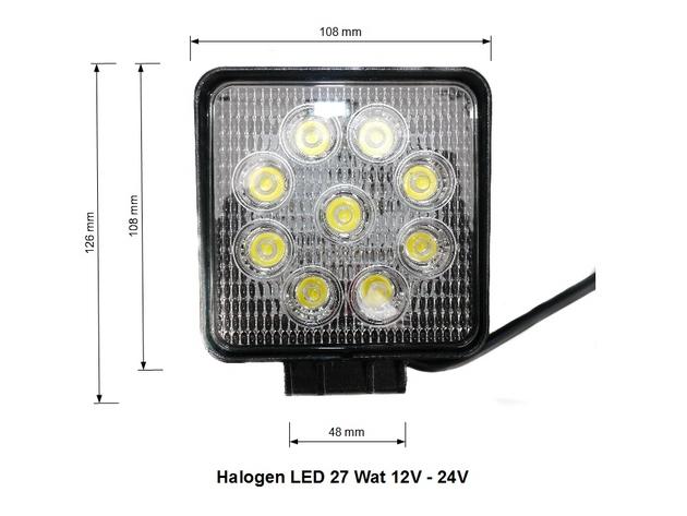 Lampa Robocza Panel LED 27 Wat OFF ROAD diodowa 12V 24 V